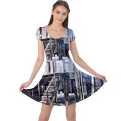 House Old Shed Decay Manufacture Cap Sleeve Dress