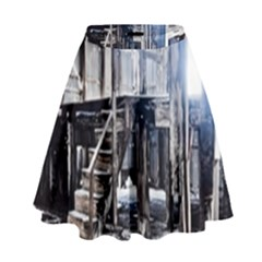 House Old Shed Decay Manufacture High Waist Skirt