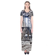 House Old Shed Decay Manufacture Short Sleeve Maxi Dress