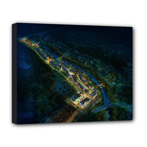 Commercial Street Night View Deluxe Canvas 20  X 16