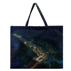 Commercial Street Night View Zipper Large Tote Bag