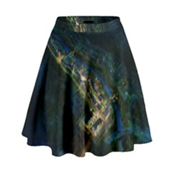 Commercial Street Night View High Waist Skirt