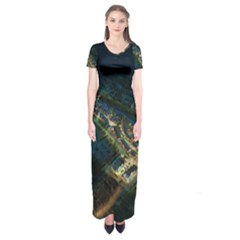 Commercial Street Night View Short Sleeve Maxi Dress
