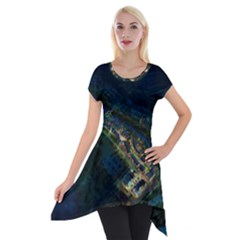 Commercial Street Night View Short Sleeve Side Drop Tunic