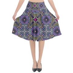 Vintage Abstract Unique Original Flared Midi Skirt