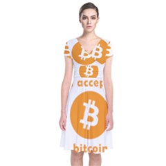 I Accept Bitcoin Short Sleeve Front Wrap Dress