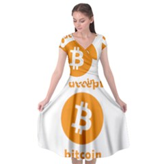 I Accept Bitcoin Cap Sleeve Wrap Front Dress