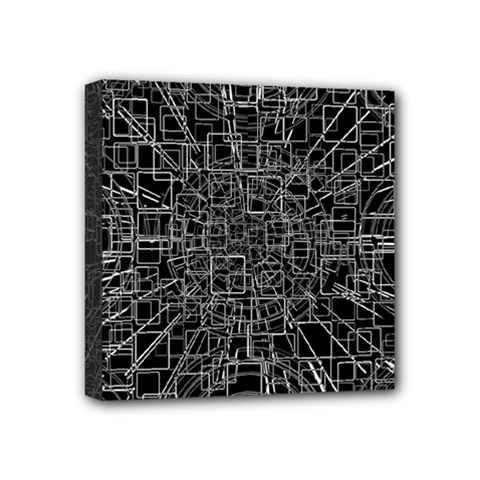 Black Abstract Structure Pattern Mini Canvas 4  X 4