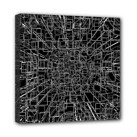 Black Abstract Structure Pattern Mini Canvas 8  X 8