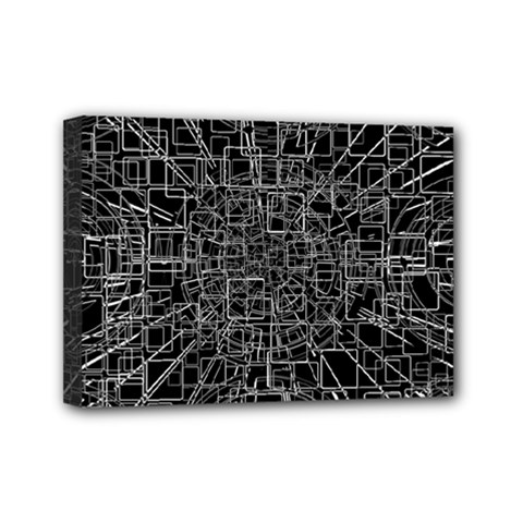 Black Abstract Structure Pattern Mini Canvas 7  X 5