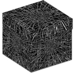 Black Abstract Structure Pattern Storage Stool 12