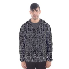 Black Abstract Structure Pattern Hooded Wind Breaker (men)
