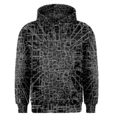 Black Abstract Structure Pattern Men s Pullover Hoodie