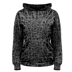 Black Abstract Structure Pattern Women s Pullover Hoodie