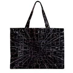 Black Abstract Structure Pattern Zipper Mini Tote Bag