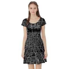 Black Abstract Structure Pattern Short Sleeve Skater Dress