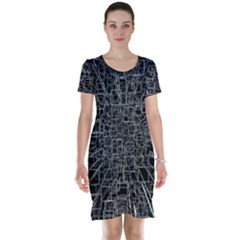 Black Abstract Structure Pattern Short Sleeve Nightdress