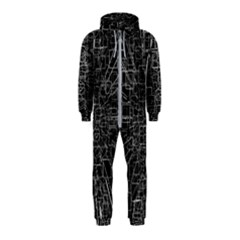 Black Abstract Structure Pattern Hooded Jumpsuit (kids)