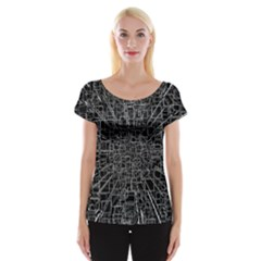 Black Abstract Structure Pattern Cap Sleeve Tops