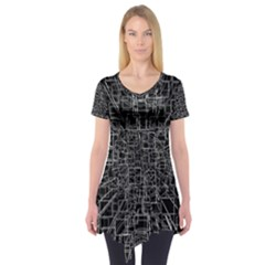 Black Abstract Structure Pattern Short Sleeve Tunic