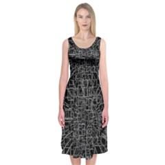 Black Abstract Structure Pattern Midi Sleeveless Dress