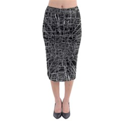 Black Abstract Structure Pattern Midi Pencil Skirt