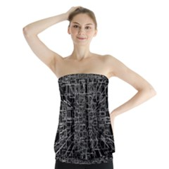 Black Abstract Structure Pattern Strapless Top