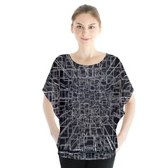 Black Abstract Structure Pattern Blouse