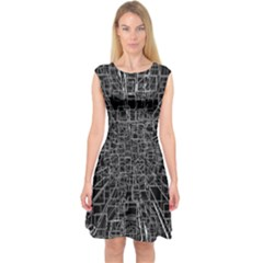 Black Abstract Structure Pattern Capsleeve Midi Dress