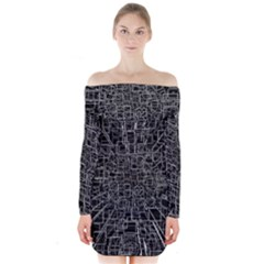 Black Abstract Structure Pattern Long Sleeve Off Shoulder Dress