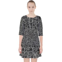 Black Abstract Structure Pattern Pocket Dress