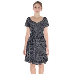 Black Abstract Structure Pattern Short Sleeve Bardot Dress