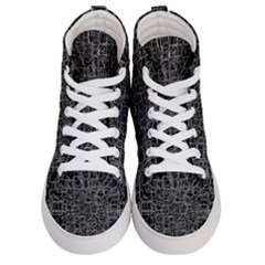 Black Abstract Structure Pattern Men s Hi Top Skate Sneakers
