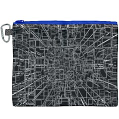 Black Abstract Structure Pattern Canvas Cosmetic Bag (xxxl)