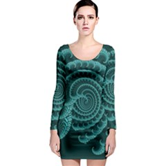Fractals Form Pattern Abstract Long Sleeve Bodycon Dress