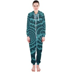 Fractals Form Pattern Abstract Hooded Jumpsuit (ladies)