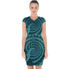 Fractals Form Pattern Abstract Capsleeve Drawstring Dress