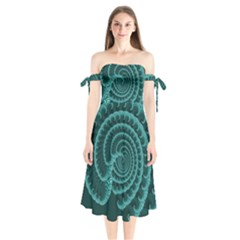 Fractals Form Pattern Abstract Shoulder Tie Bardot Midi Dress