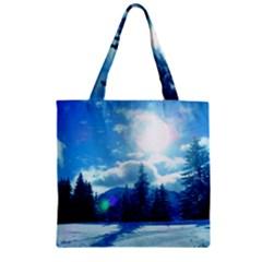 Ski Holidays Landscape Blue Zipper Grocery Tote Bag