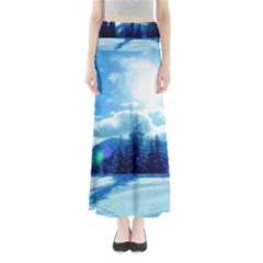 Ski Holidays Landscape Blue Full Length Maxi Skirt