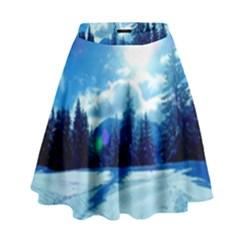 Ski Holidays Landscape Blue High Waist Skirt