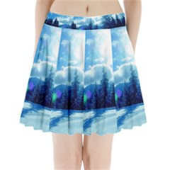 Ski Holidays Landscape Blue Pleated Mini Skirt