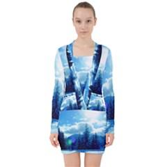 Ski Holidays Landscape Blue V Neck Bodycon Long Sleeve Dress