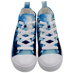 Ski Holidays Landscape Blue Kid s Mid Top Canvas Sneakers