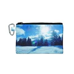 Ski Holidays Landscape Blue Canvas Cosmetic Bag (small)