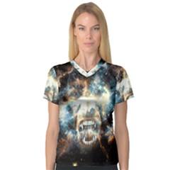 Universe Vampire Star Outer Space V Neck Sport Mesh Tee