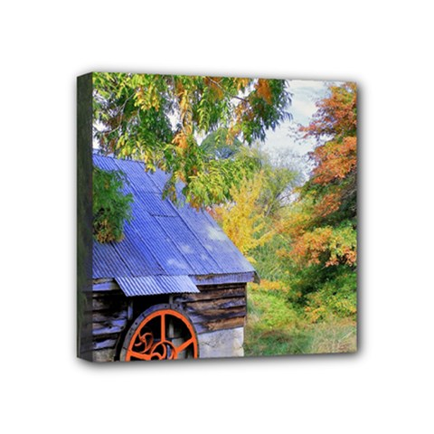 Landscape Blue Shed Scenery Wood Mini Canvas 4  X 4