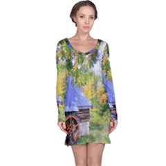 Landscape Blue Shed Scenery Wood Long Sleeve Nightdress