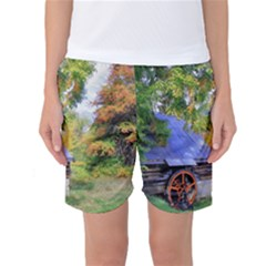 Landscape Blue Shed Scenery Wood Women s Basketball Shorts