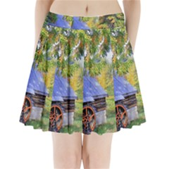 Landscape Blue Shed Scenery Wood Pleated Mini Skirt